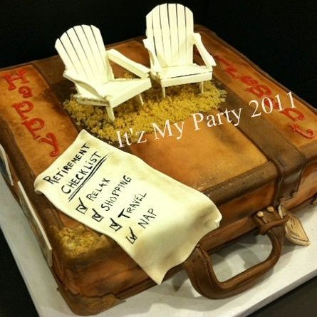 Retirement suitcase Dimensional Cake Milwaukee