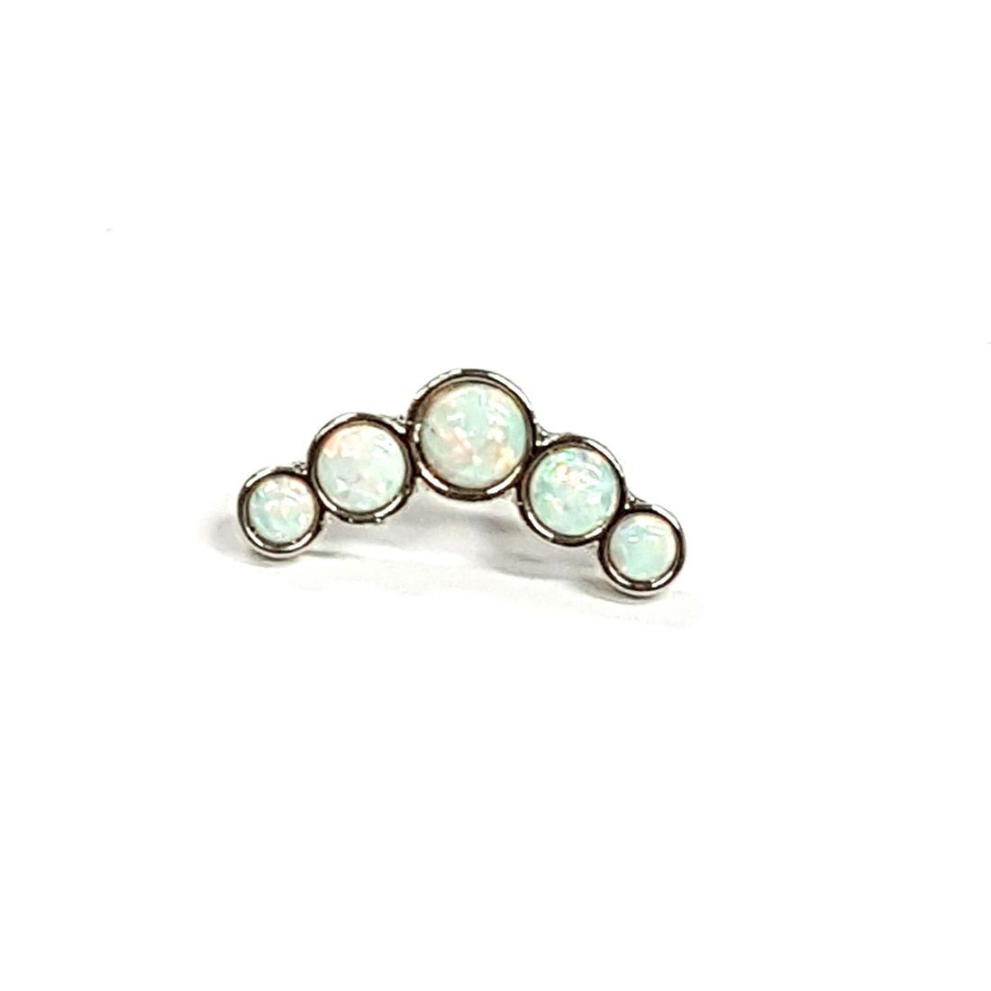 1.2mm x 8mm 5 stone opal ball back bar   available at Kazbah online and our Leicester City Centre Shop