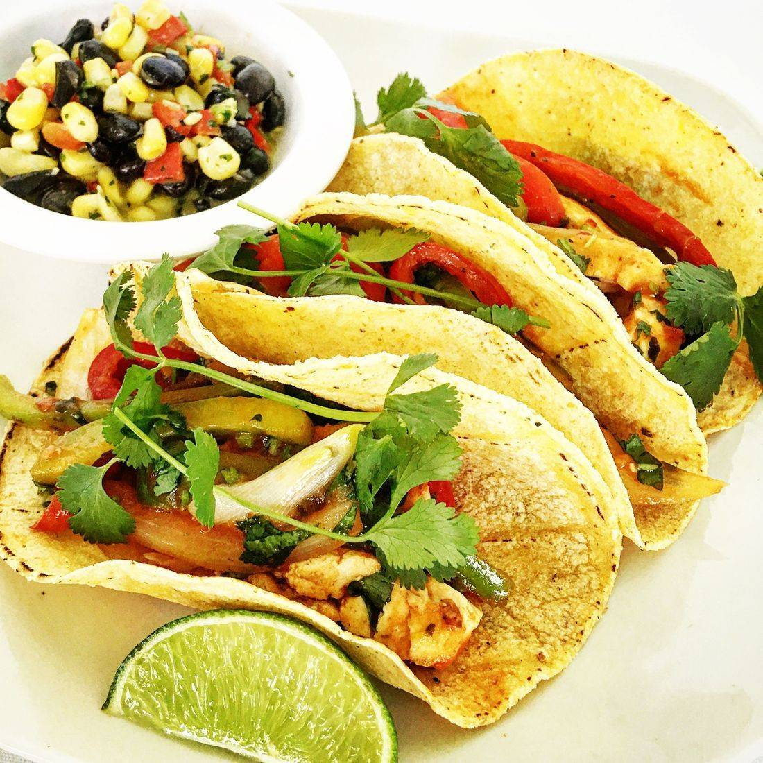 Shrimp, fish, chicken or beef street tacos