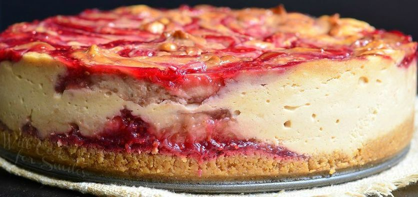 Peanut Butter and Jelly Swirl Cheesecake
