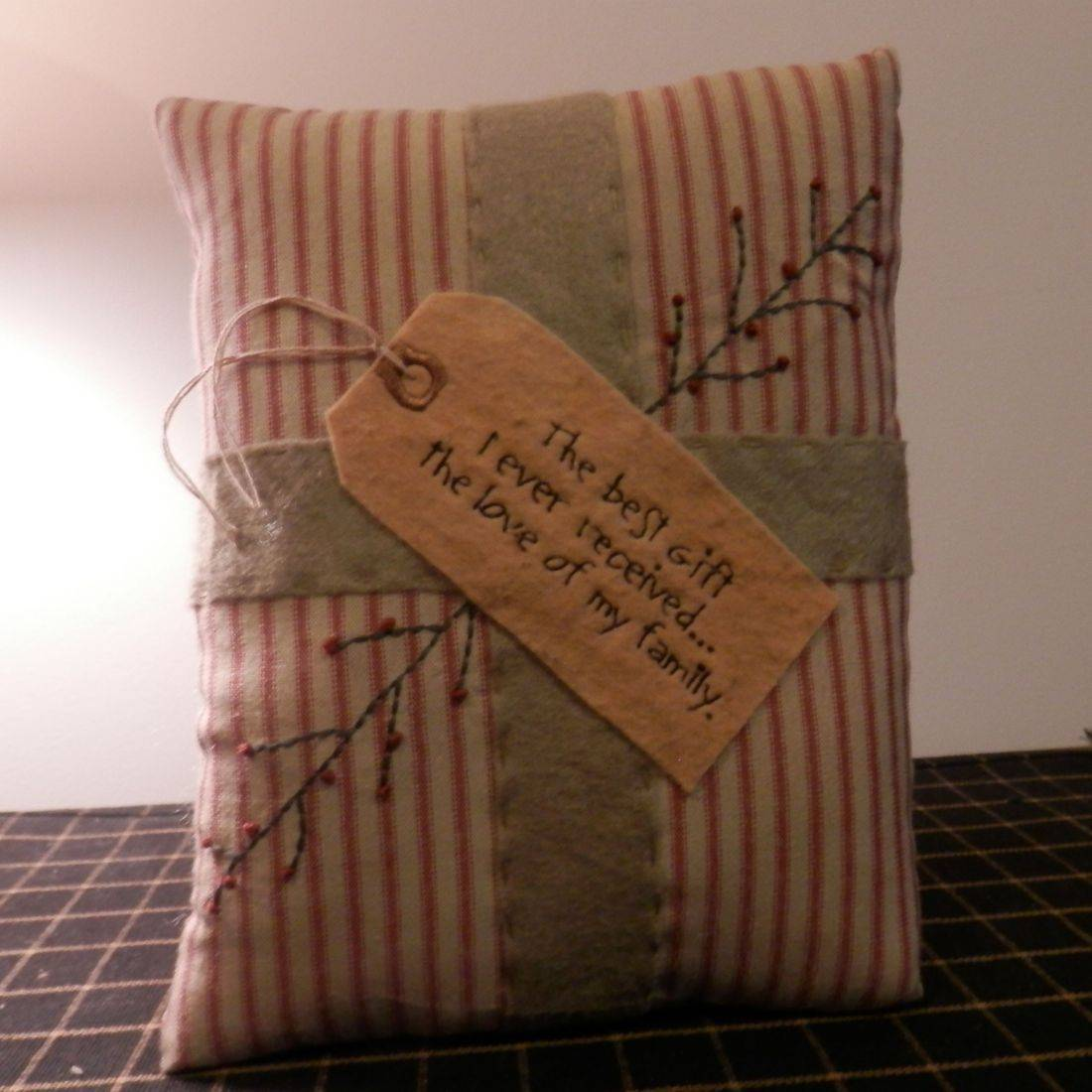 Primitive Stitched Christmas Pillow