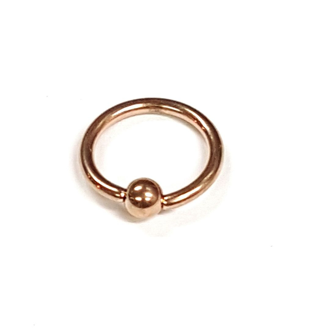 1.2mm x 10mm Rose Gold Ball Closure Ring available at kazbah online or our Leicester City Centre Store