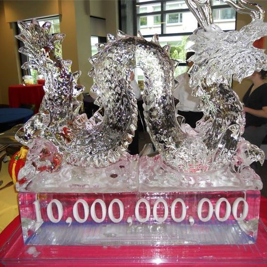 Ice sculpture for a corporate catering in Seattle