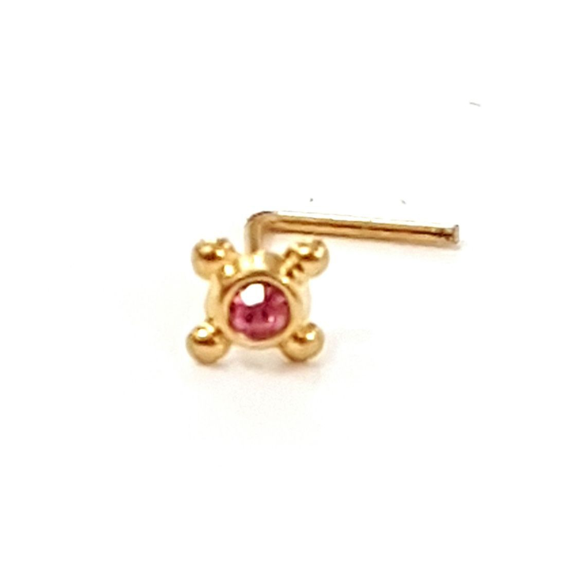 14ct gold nose stud with pink crystal available at kazbah online or our Leicester city centre shop