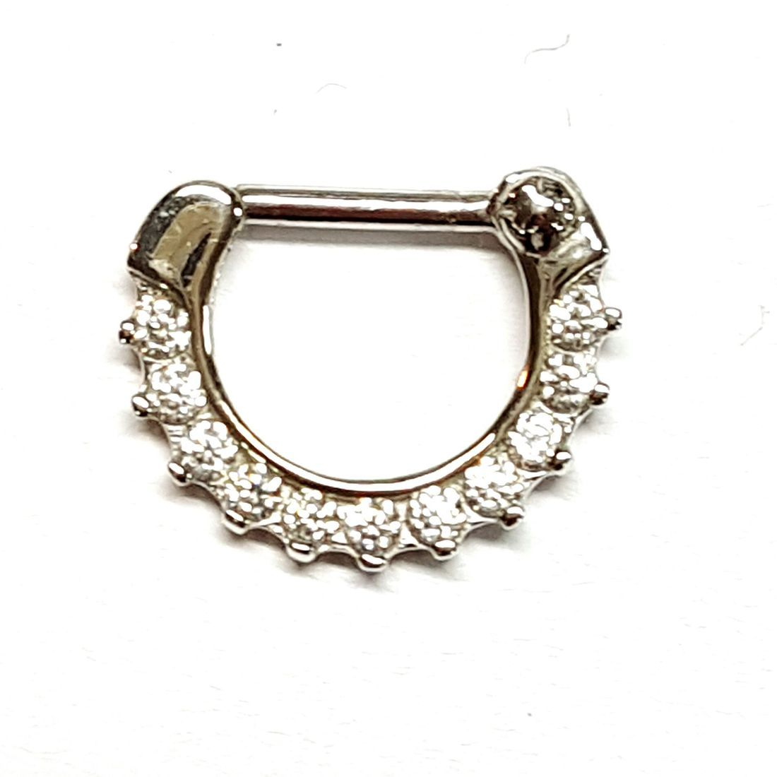 14ct Gold Cubic Zirconia Septum Clicker available from Kazbah online and our Leicester city centre shop