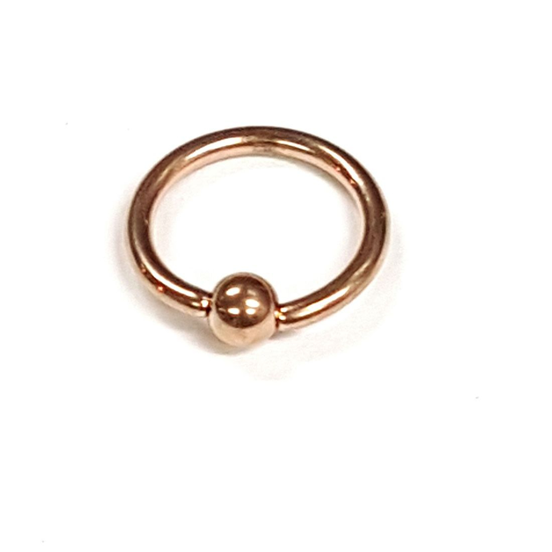 1.2mm x 8mm Rose Gold Ball Closure Ring    available at Kazbah online and our Leicester City Centre Shop