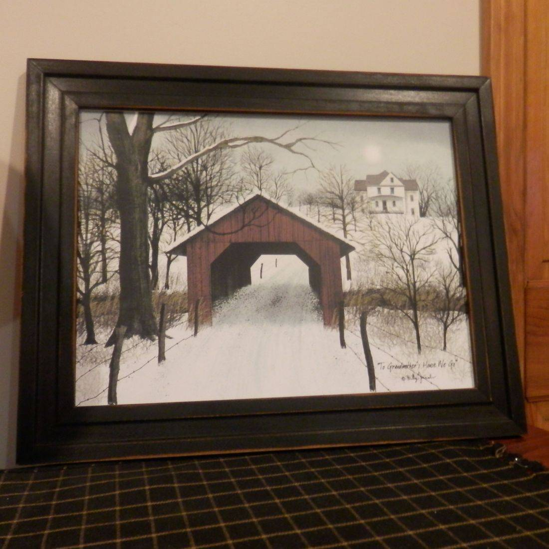 primitive covered bridge framed print