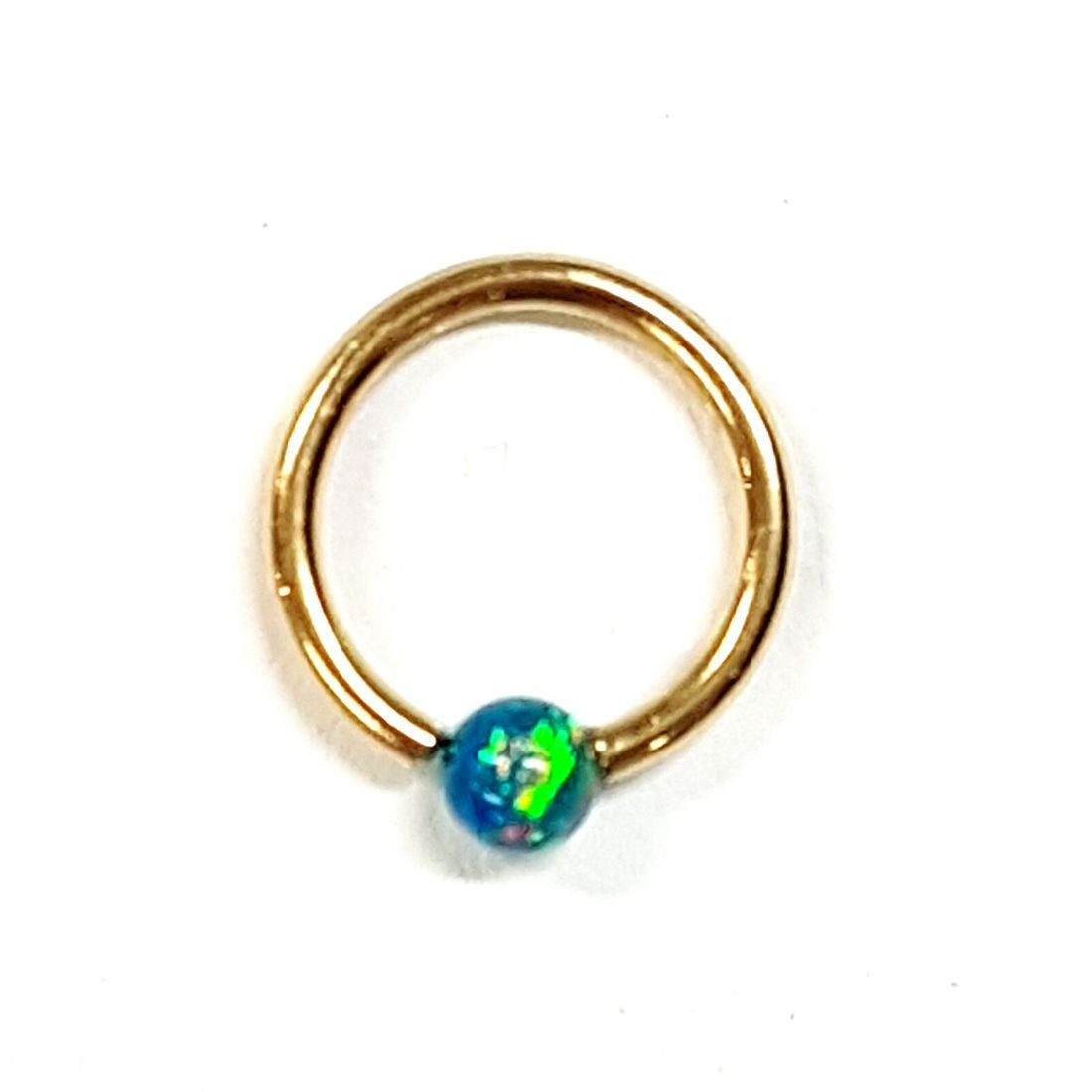 14ct Gold Opal ball closure ring available at Kazbah online and our Leicester city centre shop