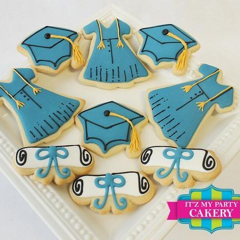 Blue Graduation Gown Cap Diploma cookies Milwaukee