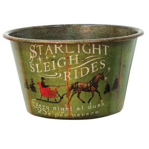 Sleigh Ride Vintage Tin Bowl