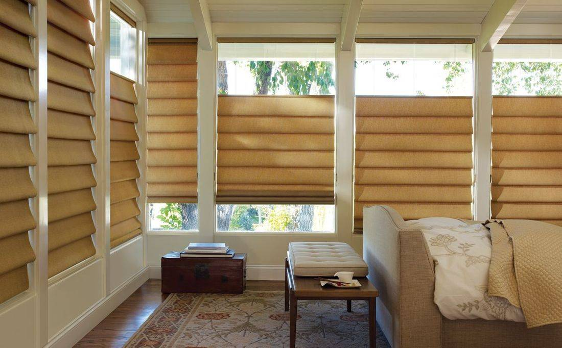 Hunter Douglas Vignette Modern Roman Shades roll, stack or glide with no exposed rear cords. Enjoy a clean look with beautiful folds, child safety and energy efficiency.