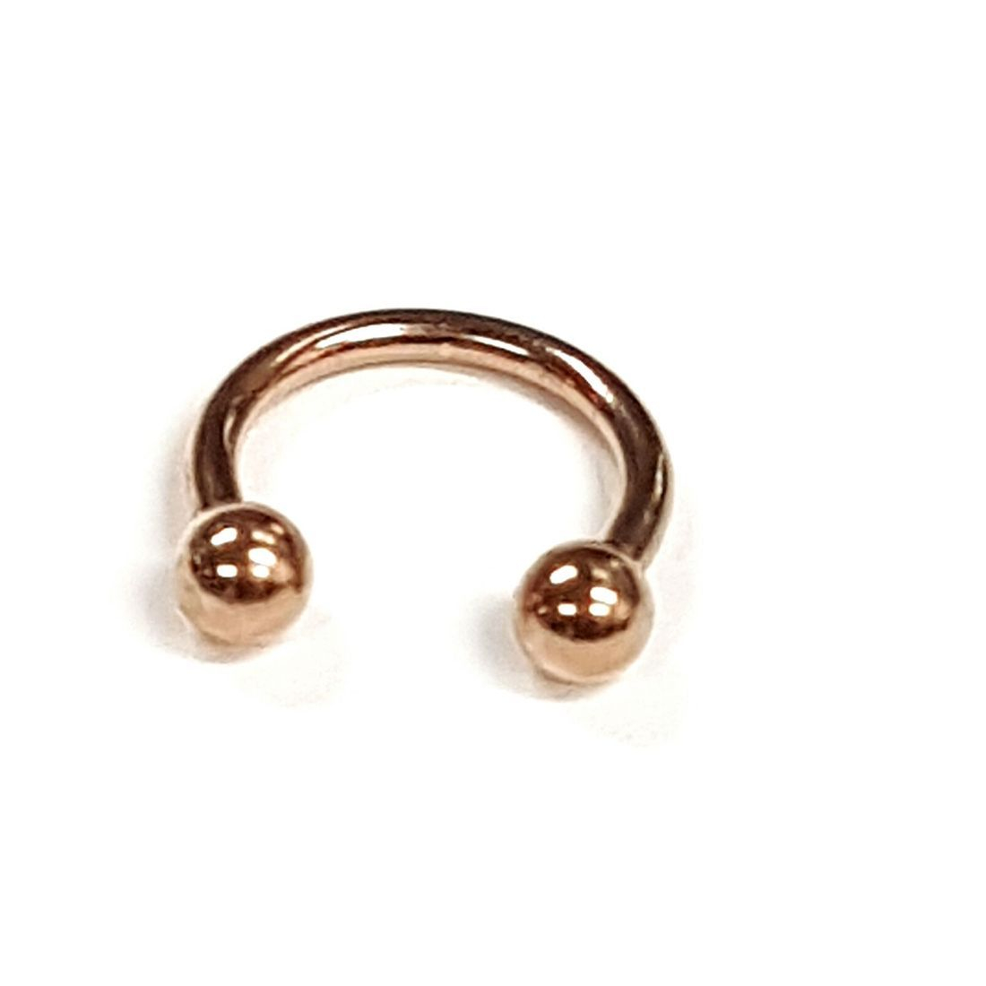1.2mm x 8mm Rose Gold Horseshoe 3mm balls   available at Kazbah online and our Leicester City Centre Shop