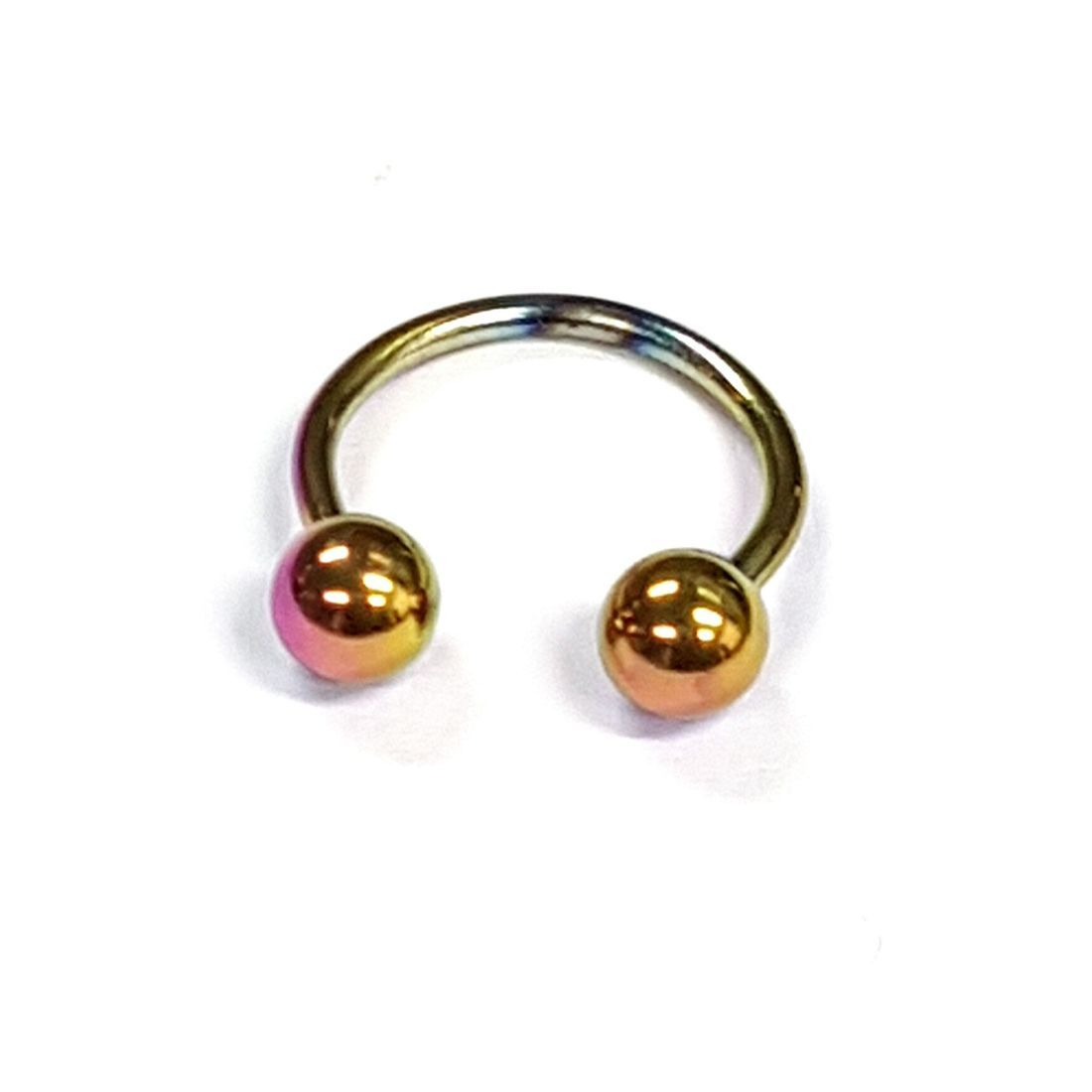 1.2mm x 10mm Rainbow Horseshoe 4mm balls available at kazbah online or our Leicester City Centre Store