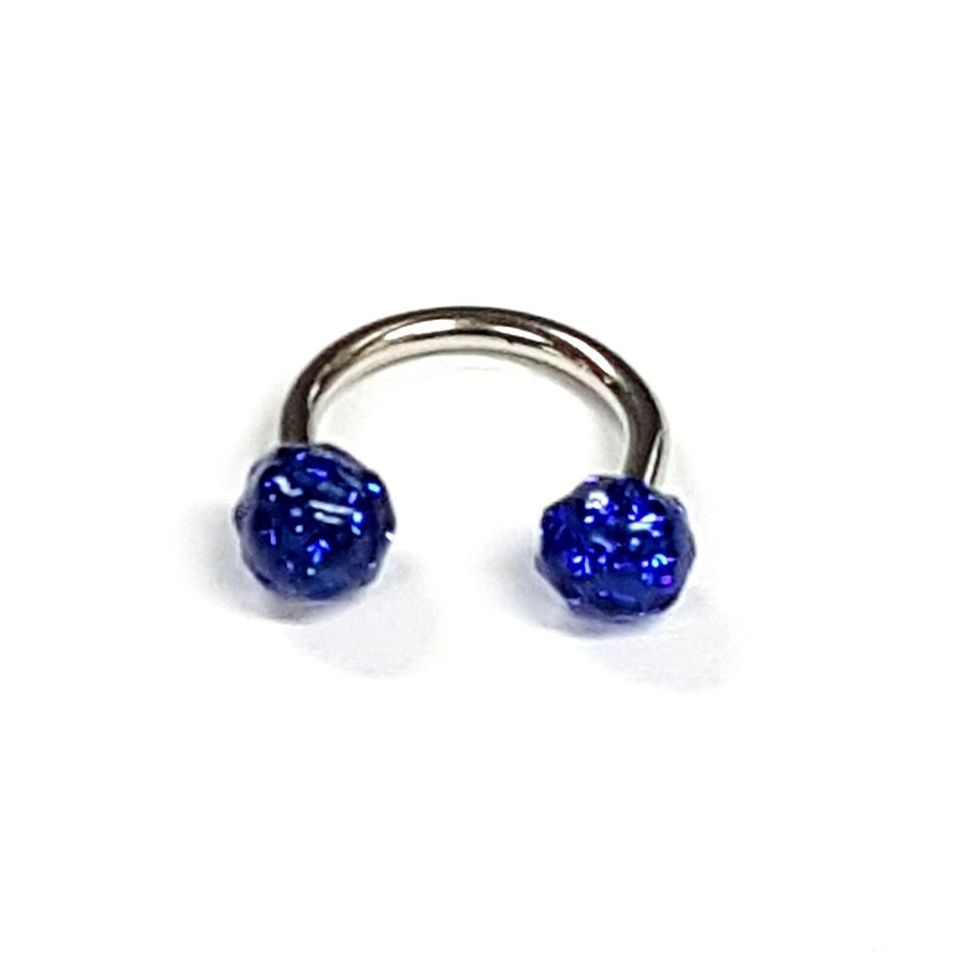 1.2mm x 8mm Horseshoe 4mm Royal Blue Crystal balls   available at Kazbah online and our Leicester City Centre Shop