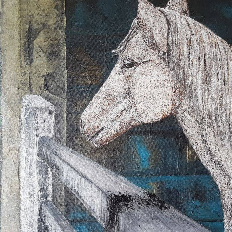 Caramelo's barn (horse painting)