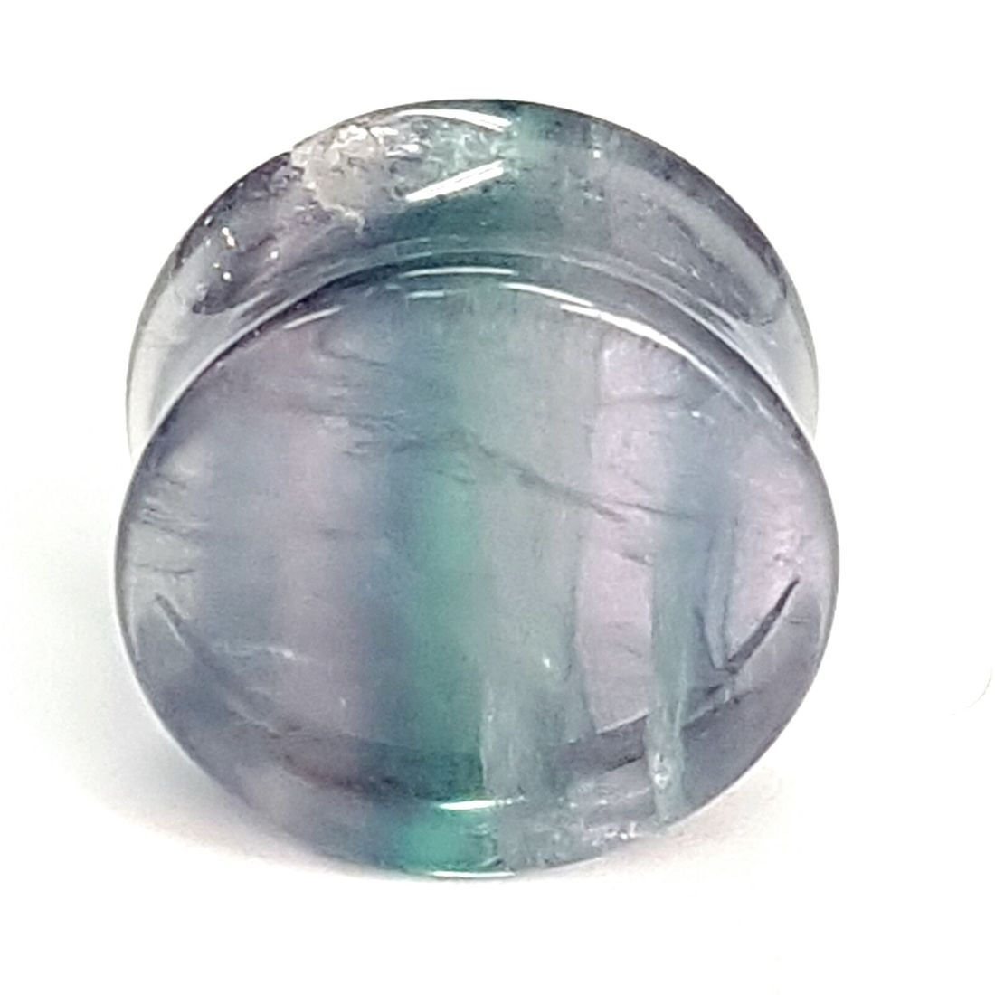 Green and Purple Flourite 22mm plug  available at Kazbah online and our Leicester City Centre store