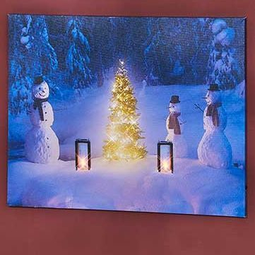 Lighted Snowman Scene Canvas Wall Art