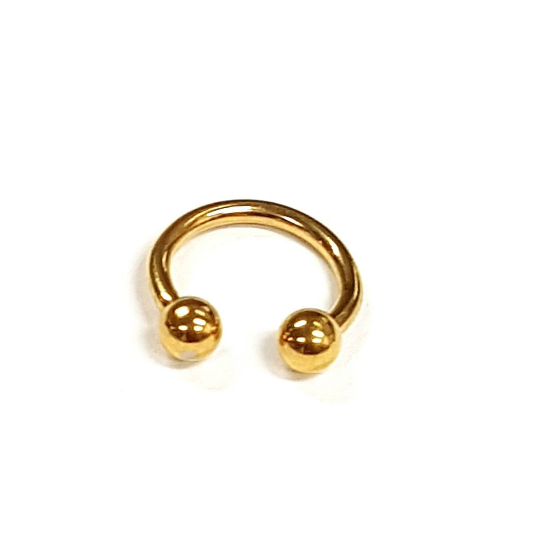 1.2mm x 8mm Gold Horseshoe 3mm balls   available at Kazbah online and our Leicester City Centre Shop