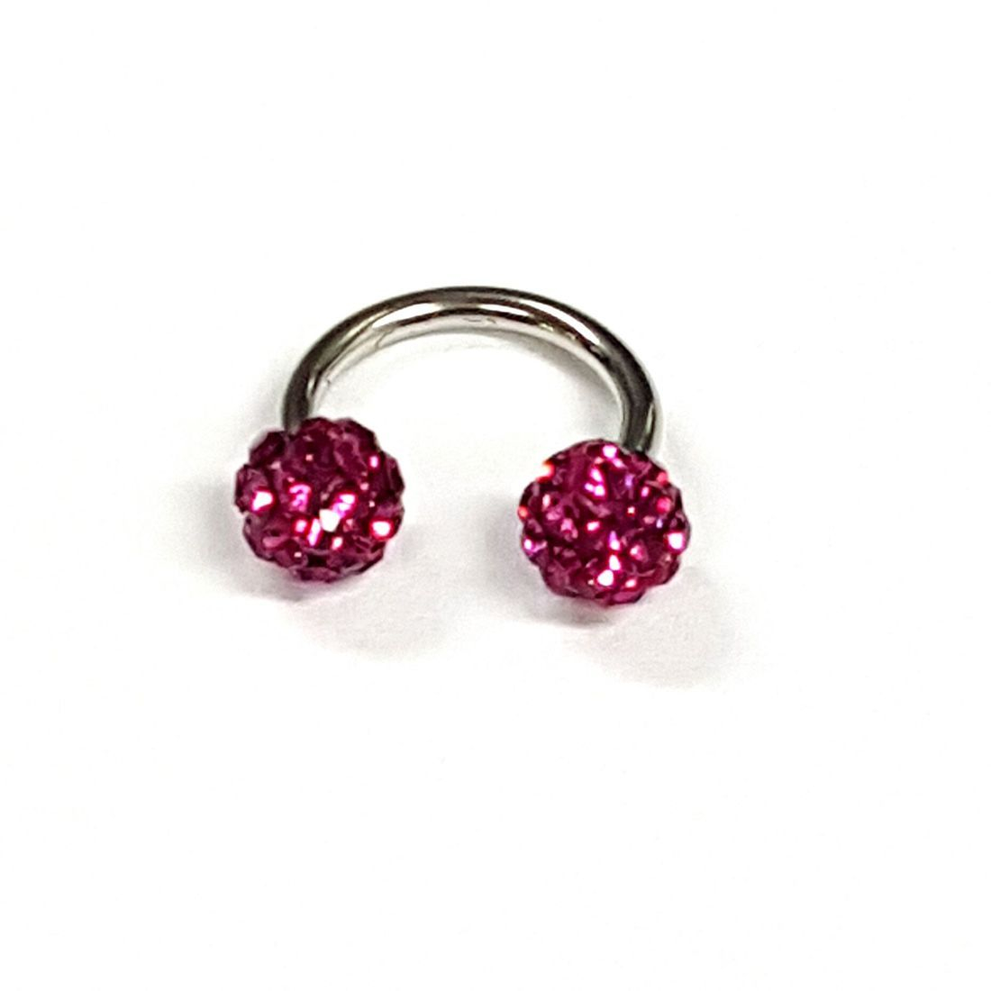 1.2mm x 8mm Horseshoe 4mm Fushia Crystal balls   available at Kazbah online and our Leicester City Centre Shop