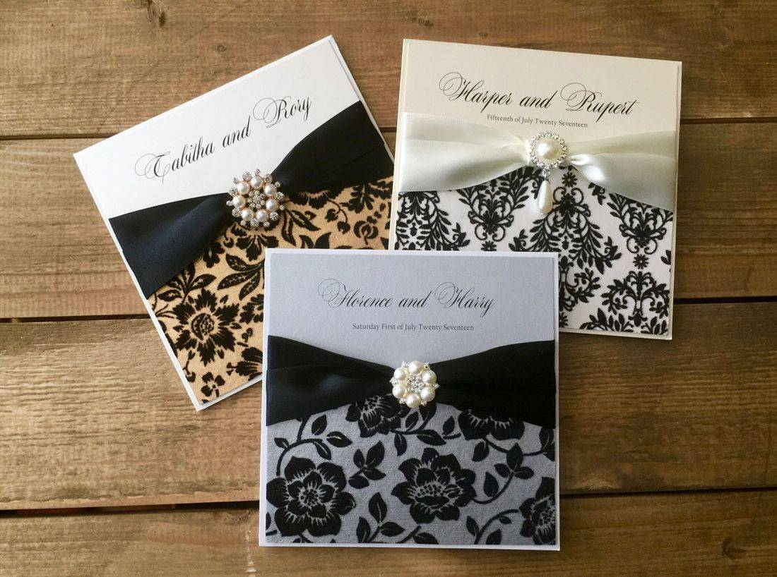 Luxury Flock Wedding Invitations Silver and Gold