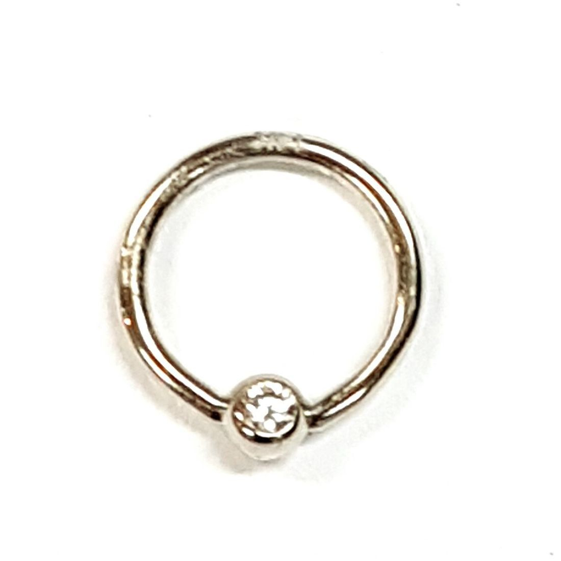 14ct White Gold Cubic Zirconia ball closure ring available to buy at Kazbah online and our Leicester city centre shop