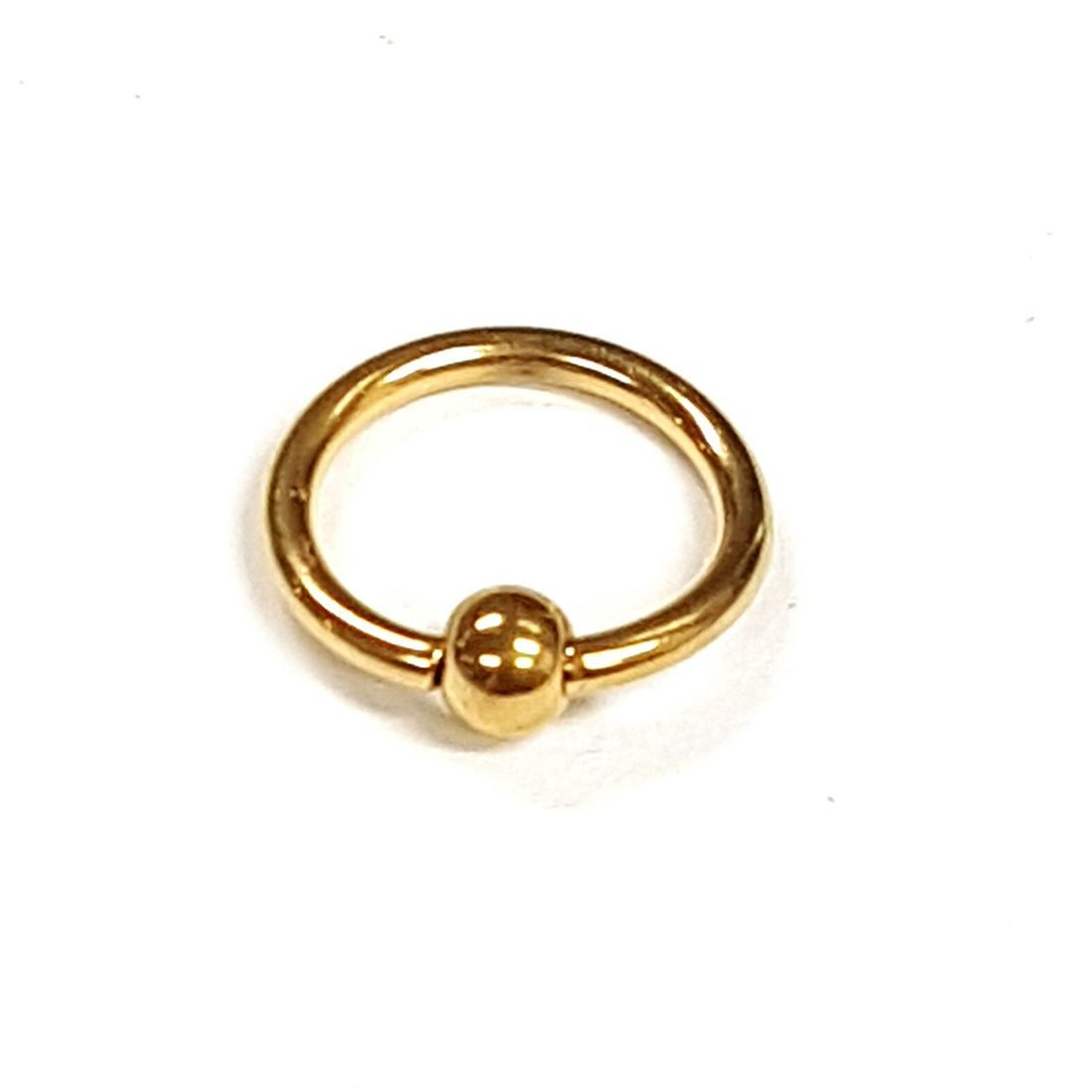 1.2mm x 8mm Gold Ball Closure Ring    available at Kazbah online and our Leicester City Centre Shop