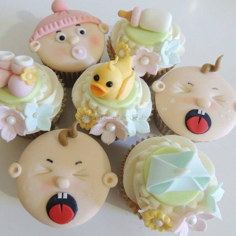 Baby Shower Cupcakes Diaper Nappy Booties Bottle Duck Flowers Pastel