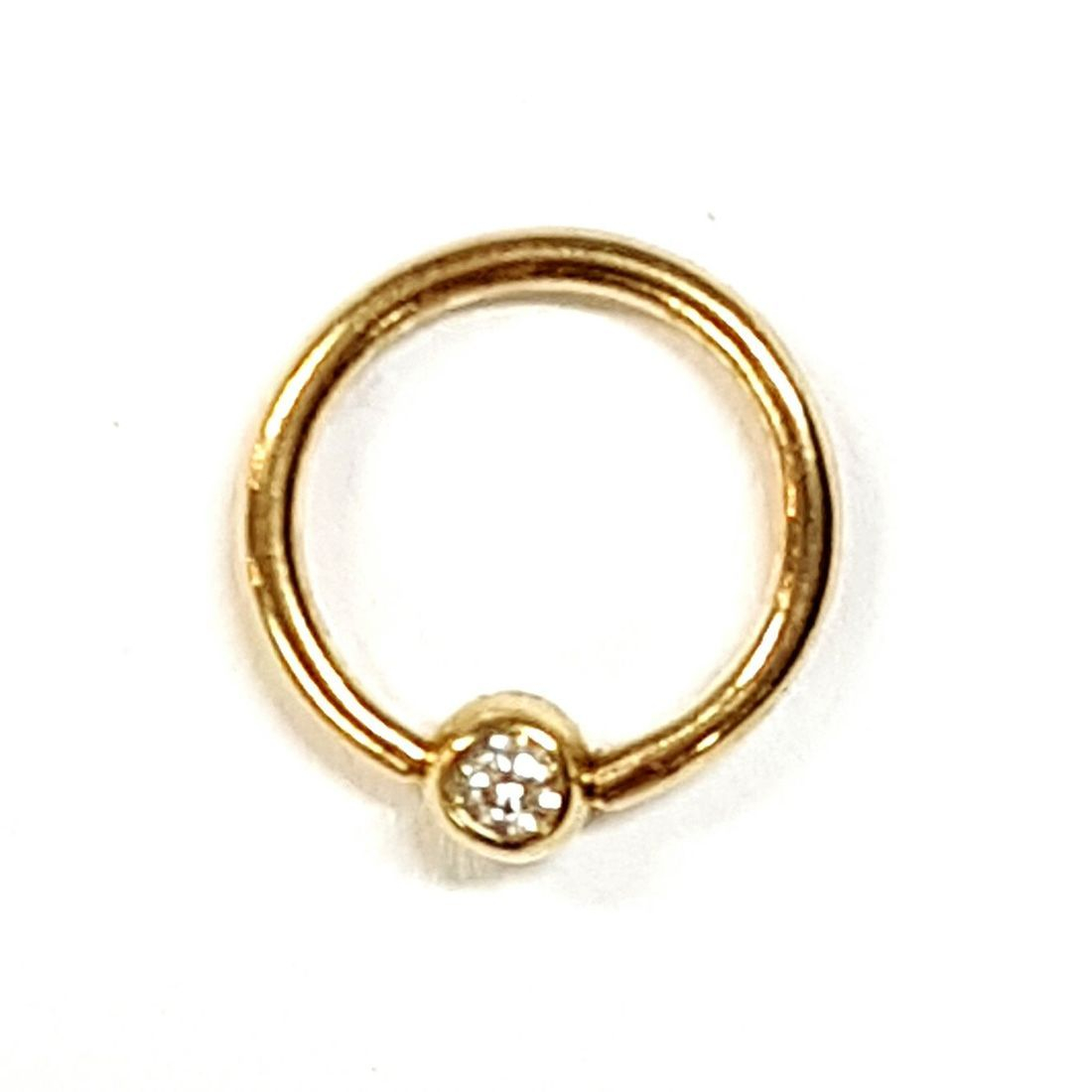 14ct Gold Cubic Zirconia ball closure ring available at Kazbah online or our Leicester City Centre shop