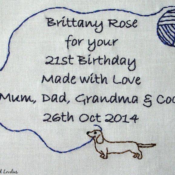 quilt label hand embroidered custom made