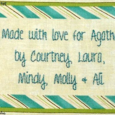 Aqua Stripes quilt label