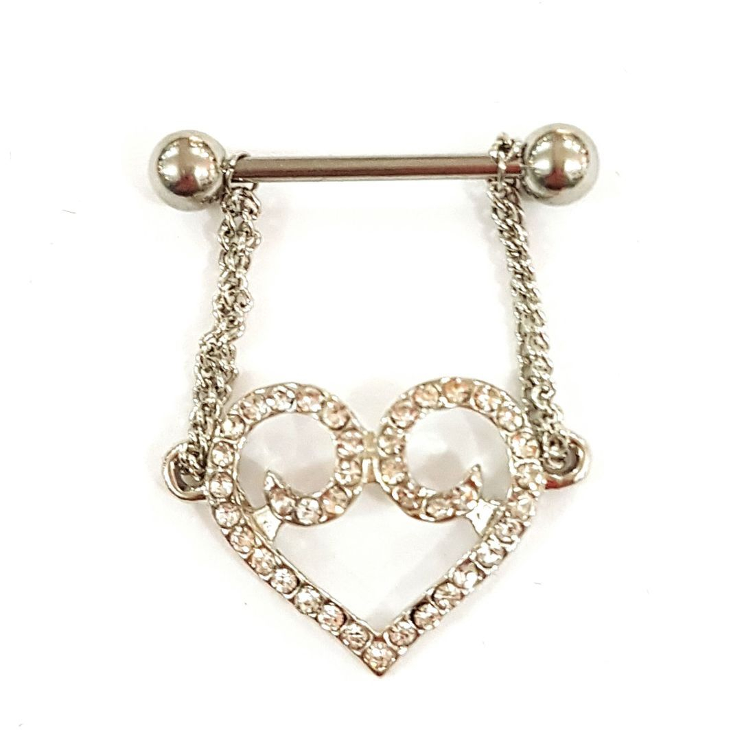 Hanging heart Nipple Bar   available at Kazbah online and our Leicester City Centre Shop