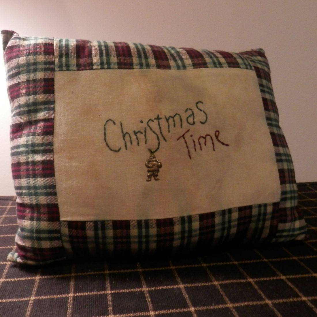 handmade stitched Christmas pillow