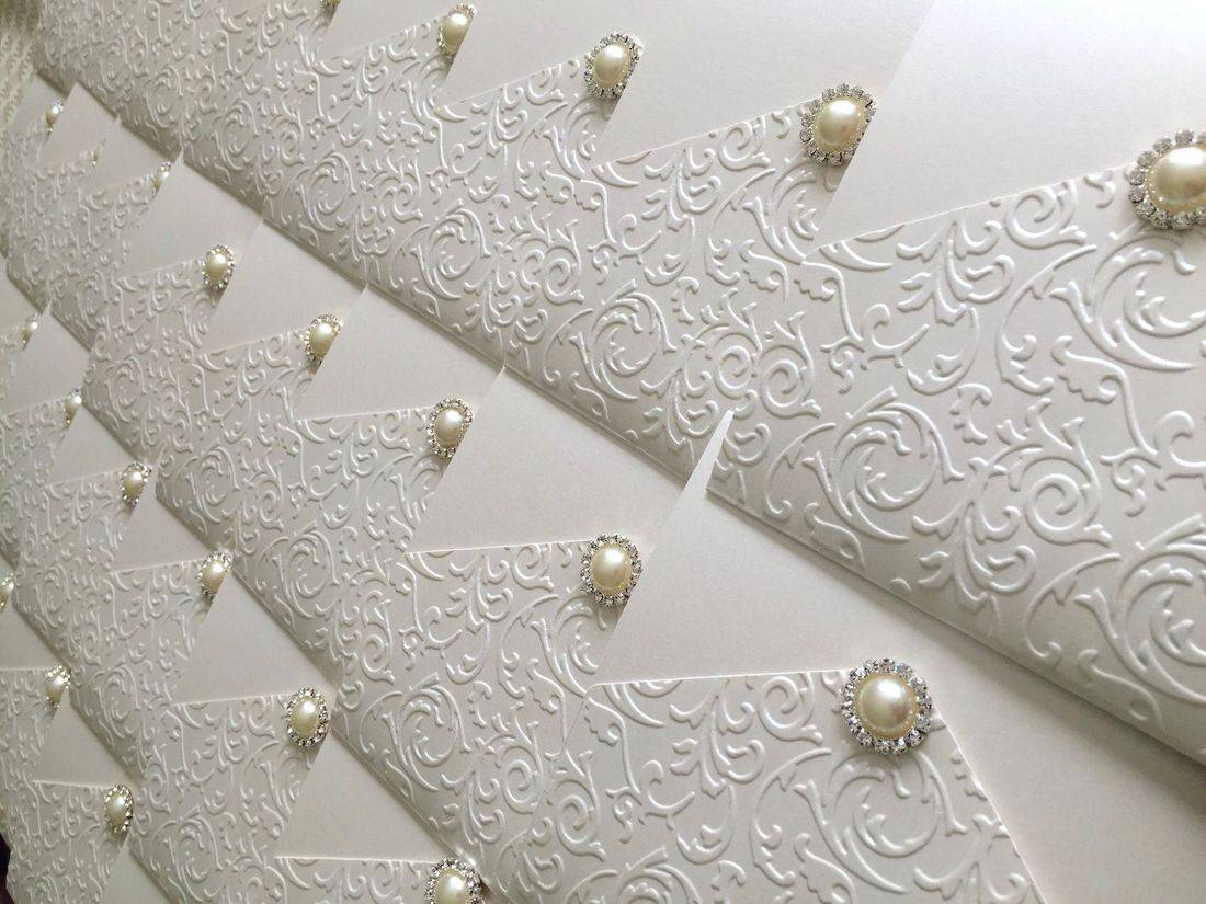 Luxury Embossed Wedding Invitation with Pearl and Diamante