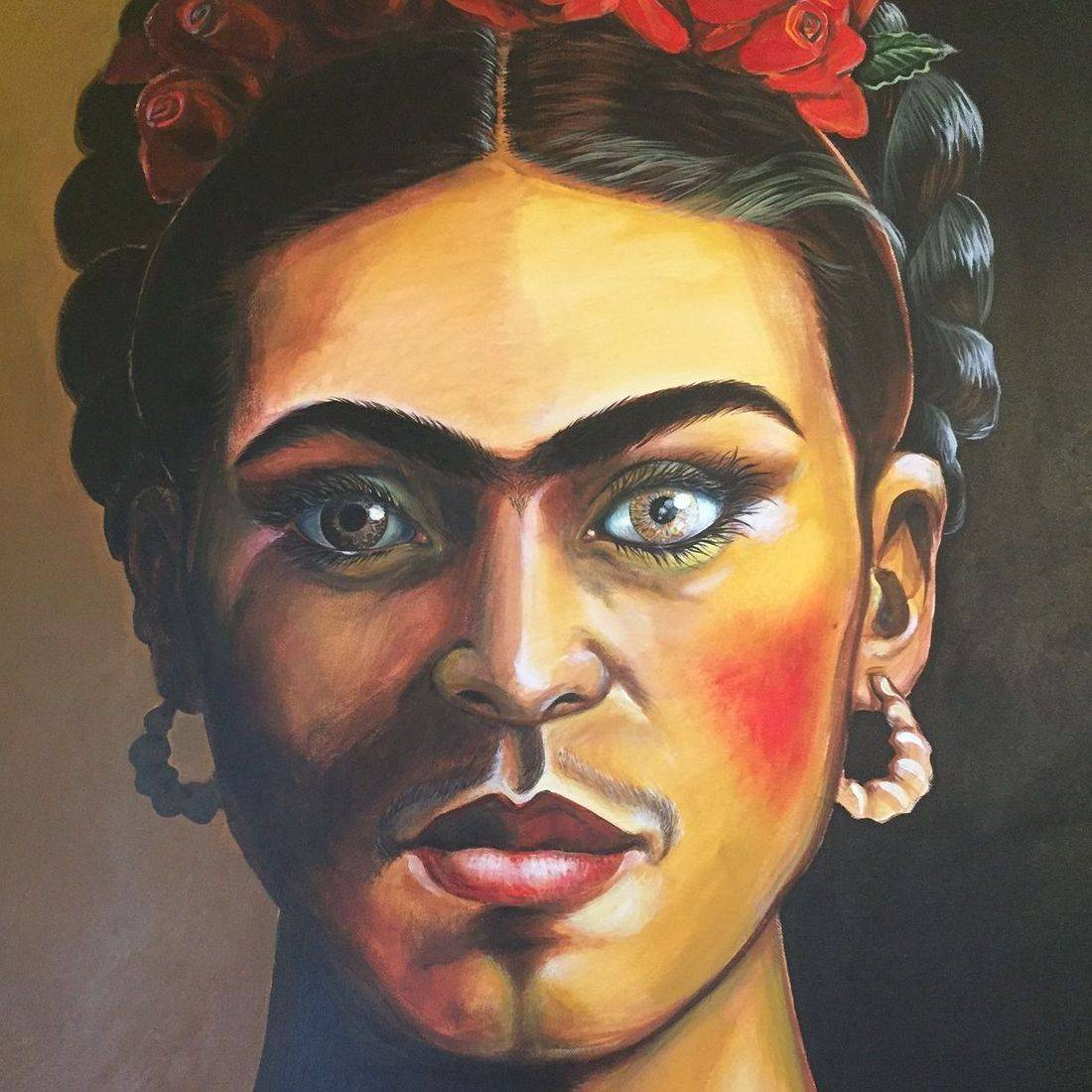 frida, san antonio, eyebrows, shrimp earrings