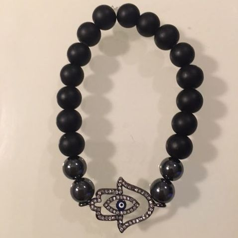 Positively Stoned: Onyx and Hematite gunmetal plated hamsa charm