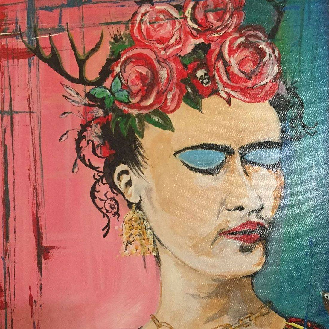 san antonio. local art, frida. blue