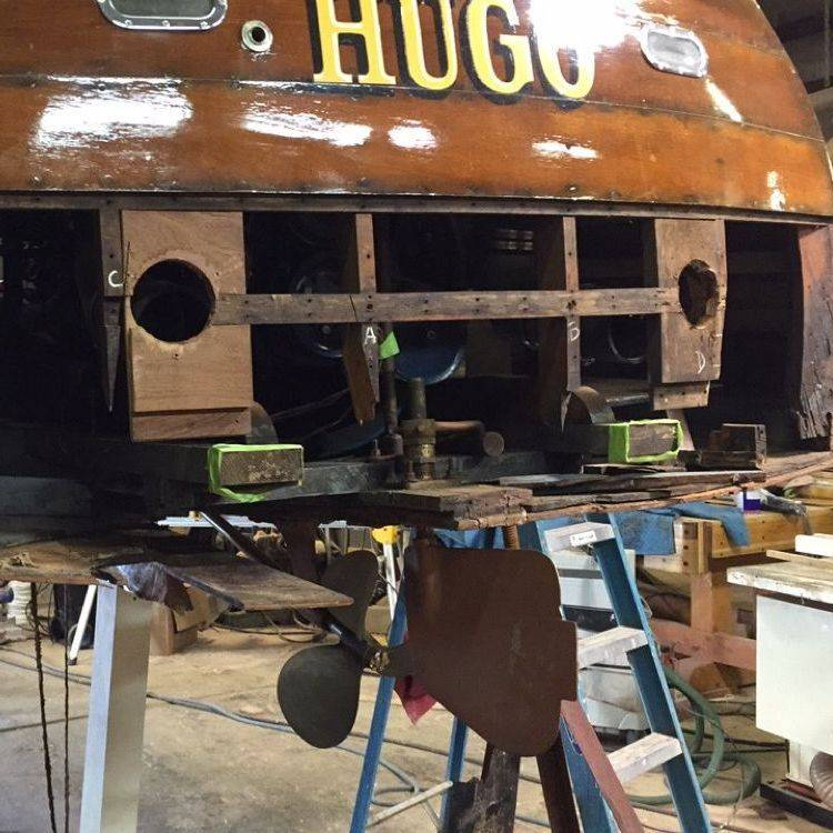 Bergersen Boat Co. replacing lower transom on Shepherd
