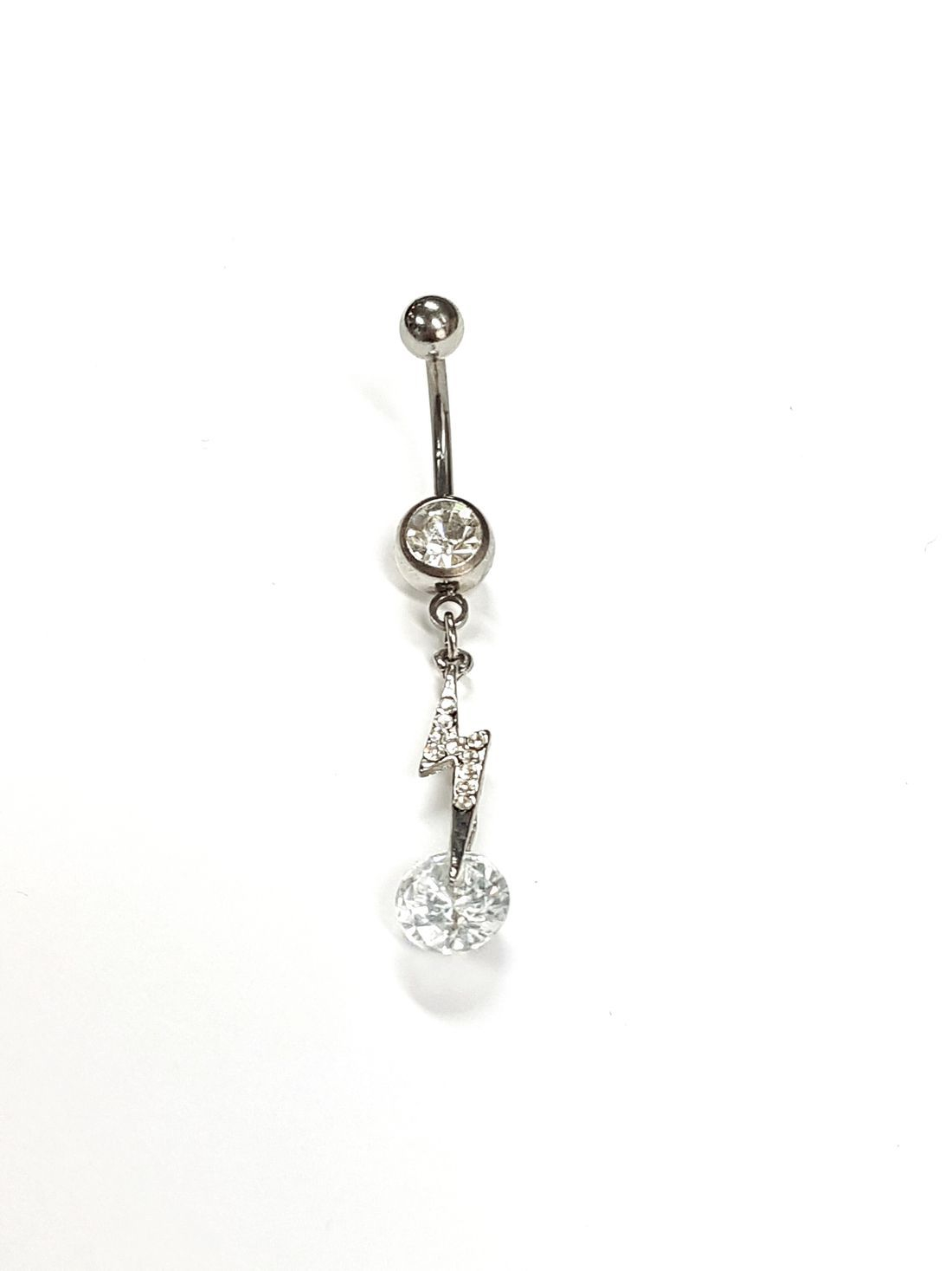 1.6mm x 10mm Clear Crystal Lightning Titanium Navel Bar  available at Kazbah online and our Leicester City Centre Shop
