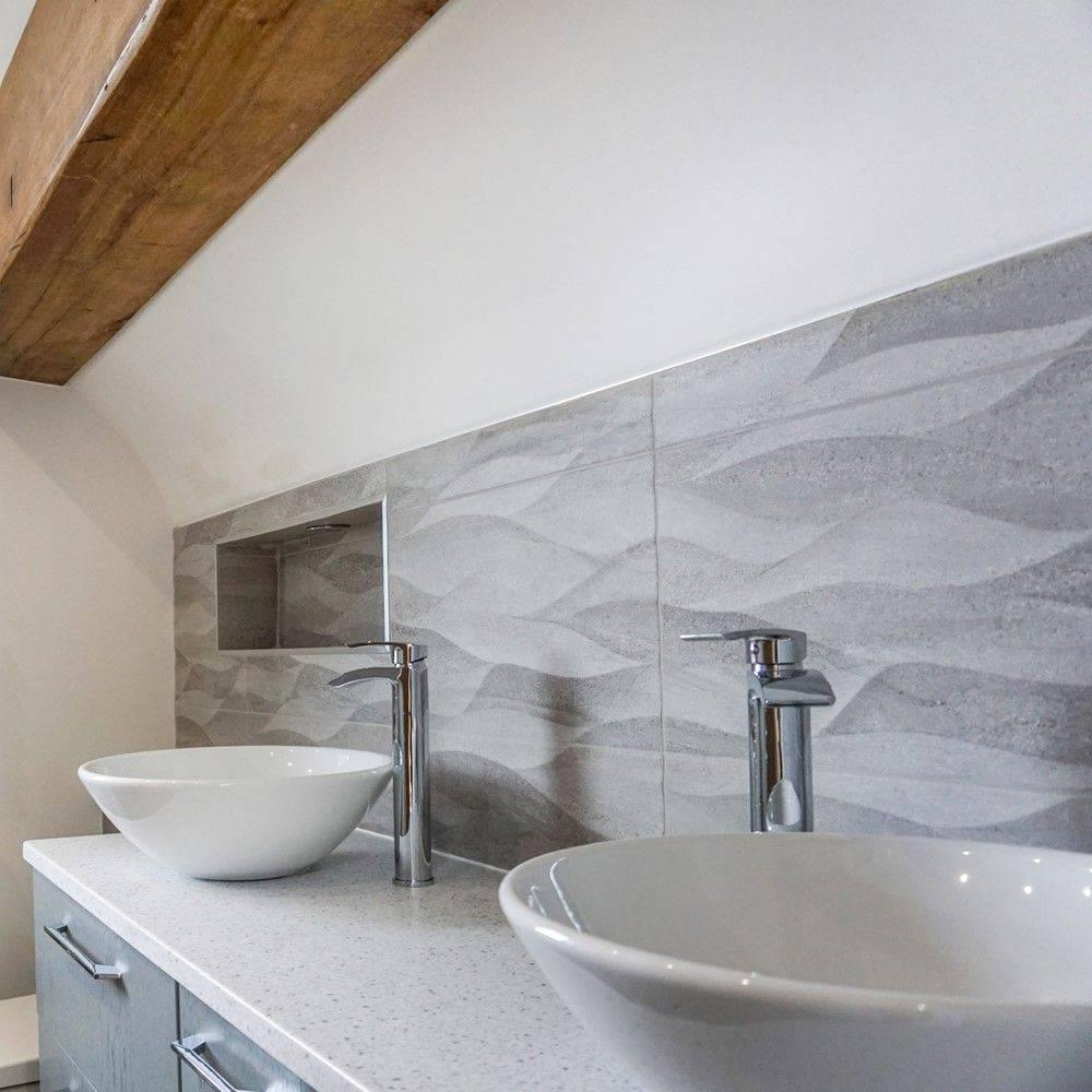 twin white enamel sinks with chrome taps