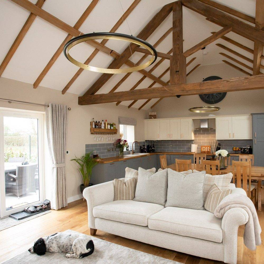 Living/kitchen area with beams and a dog