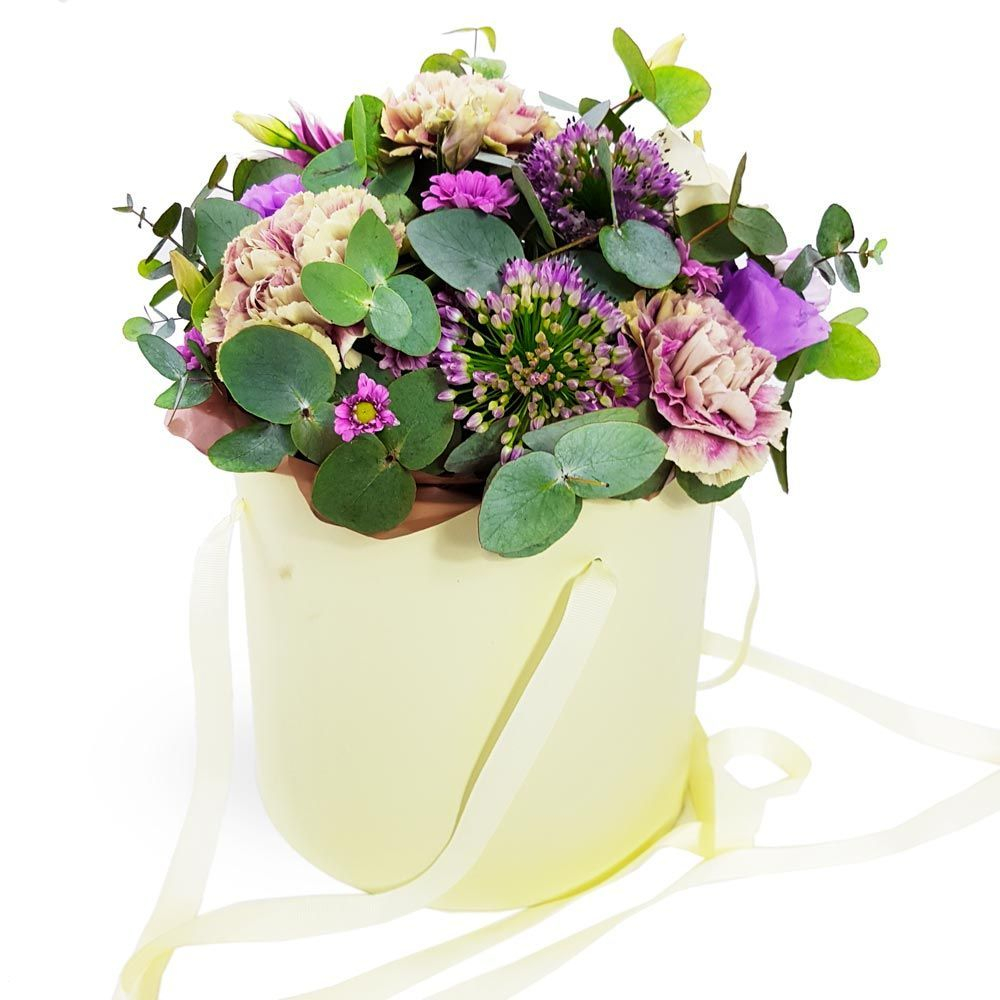 A truly wonderful selection of flowers in a hat box