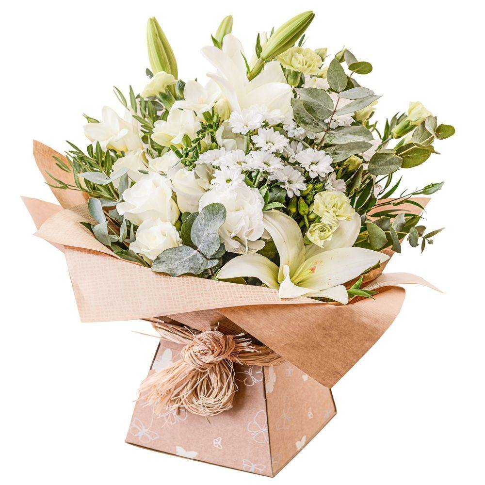 A fabulous collection of white and cream flowers make this the perfect gift