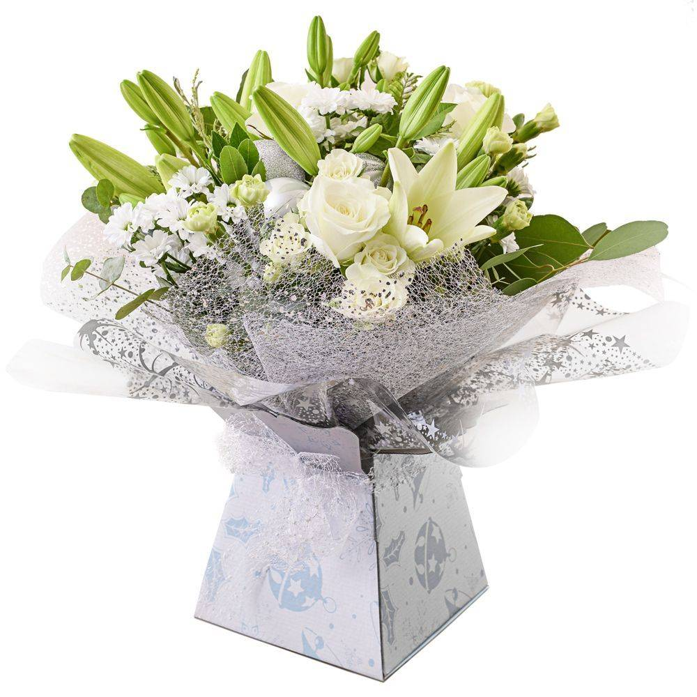 A creamy selection of blossoming buds in shades of white Handtied in water