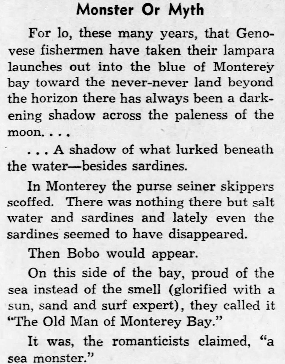 Bobo Sea Monster of Monterey Bay
