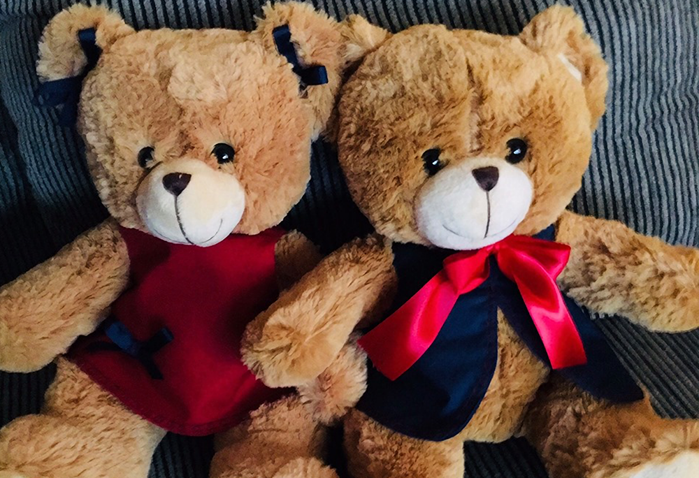 A pair of brown teddy bears
