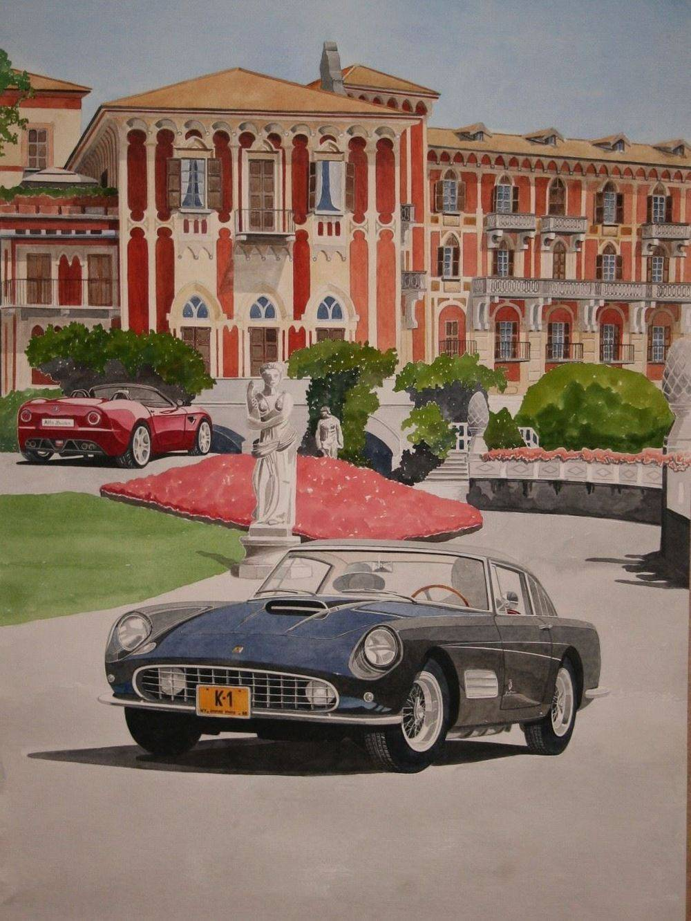 Each year a magnificent concours takes place at the Villa D'Este at lake Como in Italy. There are 2 main competitions, one for classic cars and the other for prototypes. Artists are invited prior to the coming years event to paint a picture to be used for publicity material and this artwork has to include the two winning cars from the previous year. I was invited to submit a piece of artwork for this competition and here it is in all its glory, showing the Ferrari 410 Superamerica and Alfa Romeo Spider. Sadly I didn't win but it was an honour to take part. The artwork, in watercolour is A1 in size and is now available for purchase at a REDUCED cost of £900