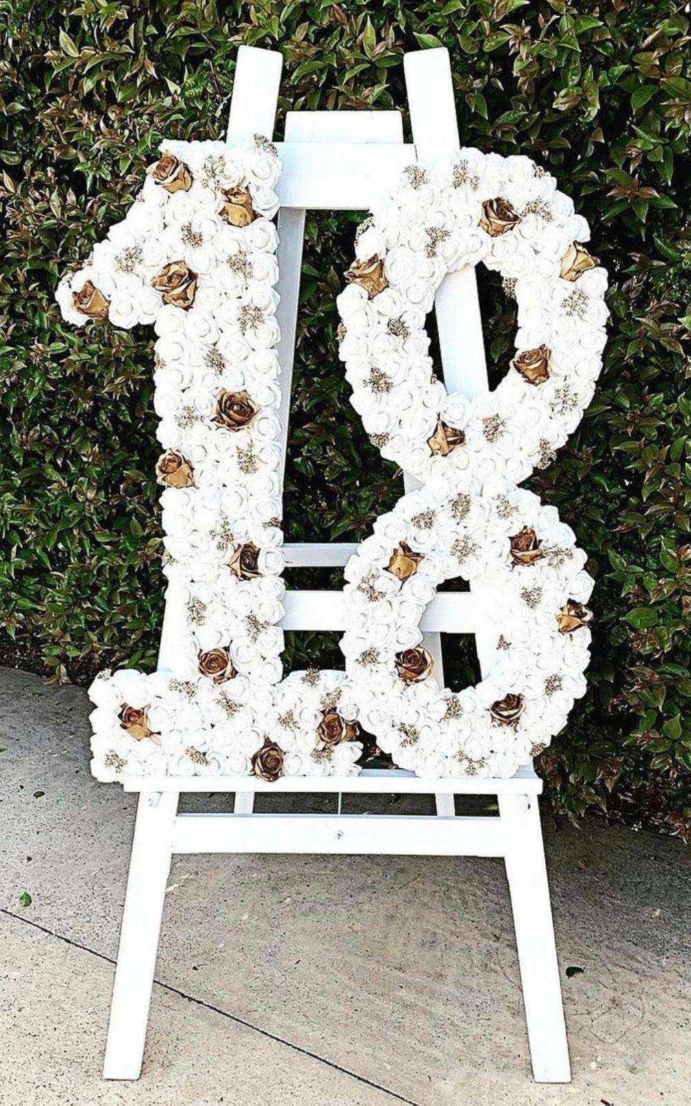 Large Floral 18th Birthday Party Numbers
