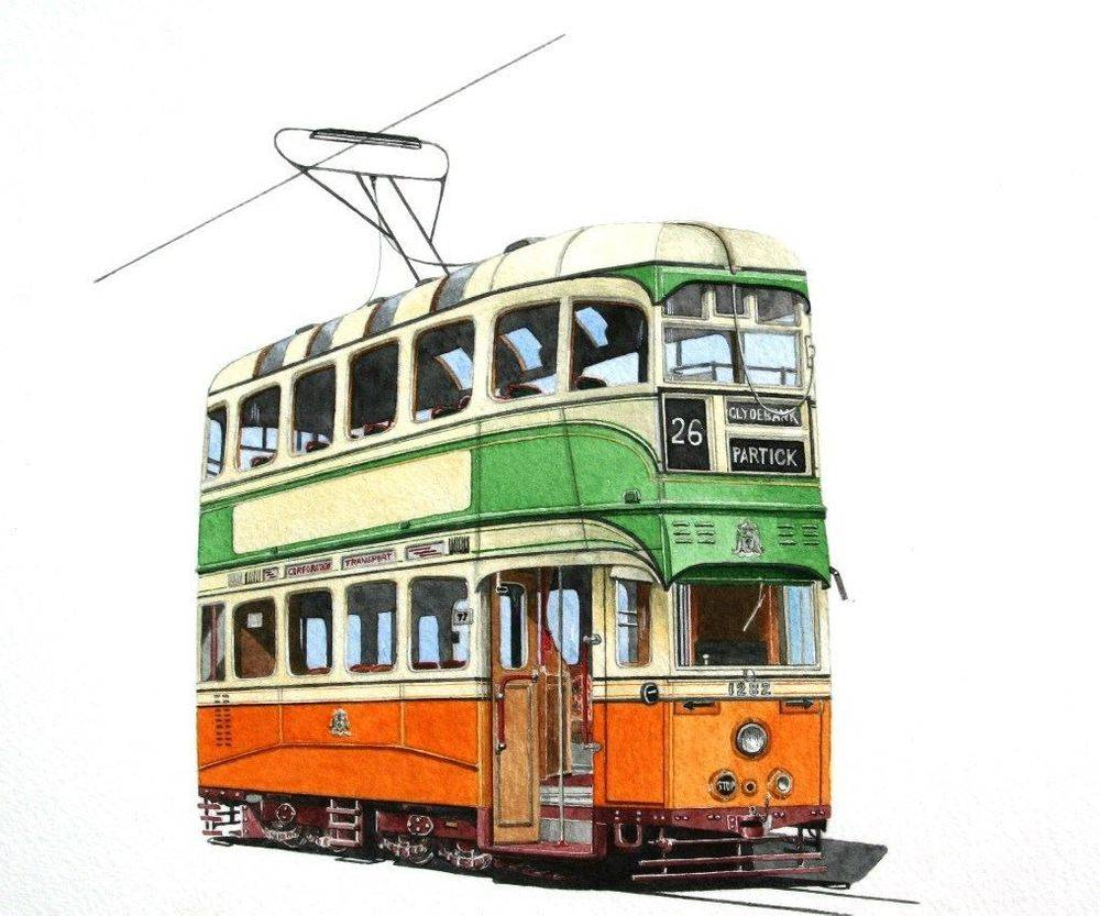 """GLASGOW 1282 : One of the currently """"non - operational"""" cars at the Crich Tramway Village, but did appear briefly at Crich during the Glasgow 60 event COMMISSION - SOLD"""