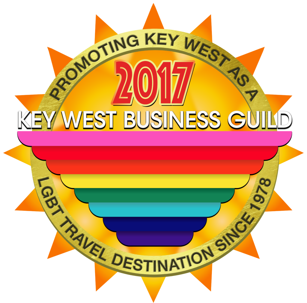 Key West Business Guild sun & gay rainbow flag logo