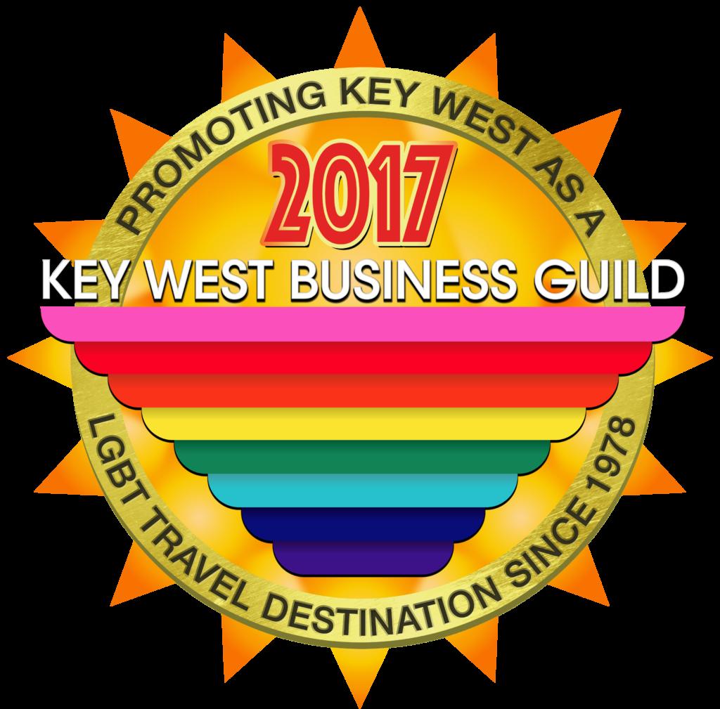Key West Business Guild sun & gay rainbow flag logo